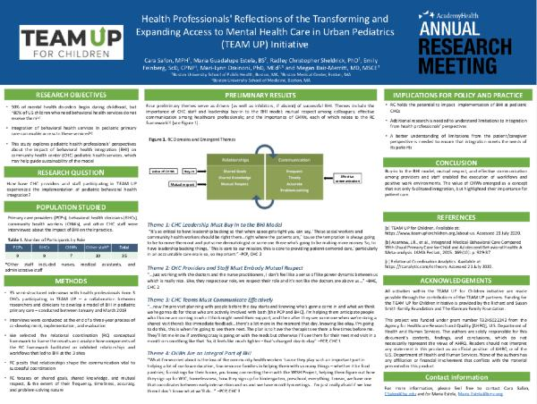 "Image of poster for ""Health Professionals' Reflections of the Transforming and Expanding Access to Mental Health Care in Urban Pediatrics (TEAM UP) Initiative"""