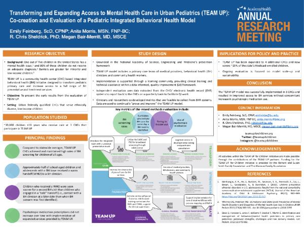 "Image of poster for ""Transforming and Expanding Access to Mental Health Care in Urban Pediatrics (TEAM UP): Co-creation and Evaluation of a Pediatric Integrated Behavioral Health Model"""